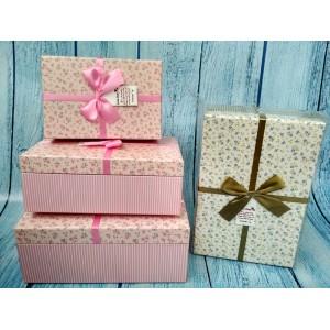 Коробочки прямоугольные с бантом набор из 3-х