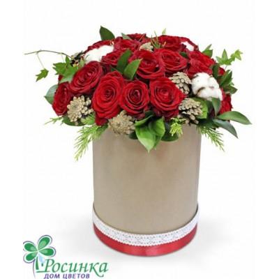 Розы в шляпной коробке №412