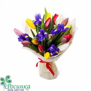 Букет №428 из тюльпанов и ирисов