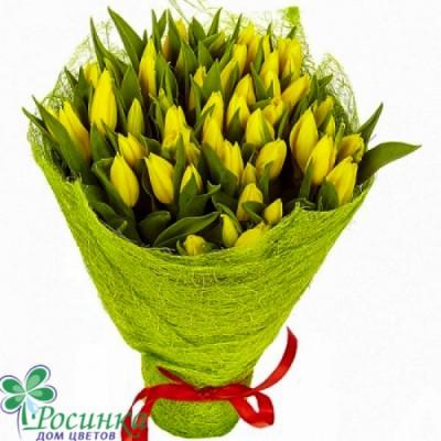 Букет №155 -  49 желтых  Тюльпанов