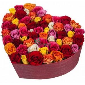 """Композиция """"Люблю тебя"""" в шляпной коробке (51 или 101 роза)"""