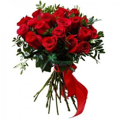 Букет 25 Роз с зеленью
